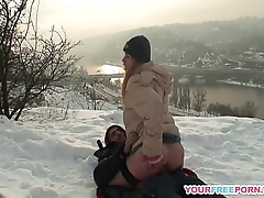 Blonde wife warms stranger'_s cock in dramatize expunge snow