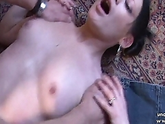 Pretty small titted french babe fucked hard like a dog with cum 2 mouth