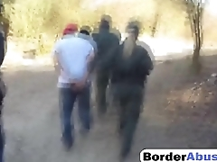 Shameless amateur sluts get fucked hard in the matter of three way with border patrol agent