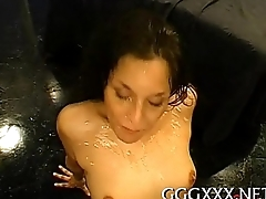 Sweet face filled with glazy sex cream
