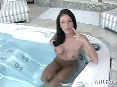Stunning MILF plays with sex holes in the pool
