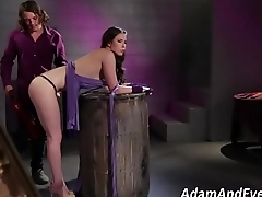 Spanked and whipped babe