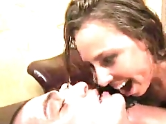 Male female cum kissing