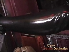 Two latex-clad harlots spank a perforator bitch before having some fun themselves