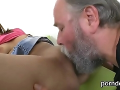 Lovesome college girl gets tempted and screwed by her older schoolteacher