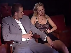 Two Italian blondes sucking and fucking in cinema