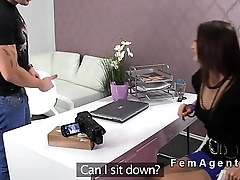 Fully naked guy bangs female agent overhead the discard couch