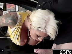With Her Husband Watching Bitchy Wife Lolly Ink Sucks with an increment of Fucks Burglar'_s Cock