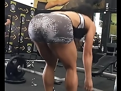 Brunette in gym working out her ass [look description]