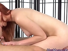 Redhead masseuse gives bj