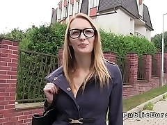 Blonde amateur bangs agent in public
