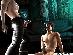 3D stud gets a golden shower before procurement fucked by a fireman