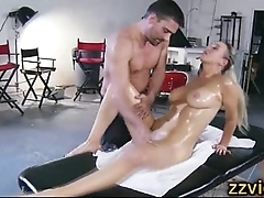 Stunning busty blonde fucked after massage