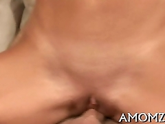 Cock fucks mature snatch and tits