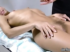 Innocent nympho spreads wet twat and gets devirginized