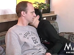 Horny young Amateur German couple make home film over