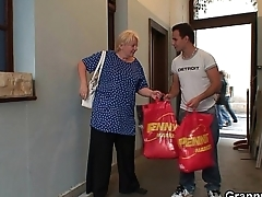 Picking up plus fucking blonde granny from behind