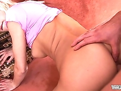 Little blonde drilled hard by older man