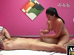 Hot Asian Masseuse Sucks Fat Cock