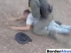 Pale cutie with perky boobs gets handcuffed and fucked by border patrol agent
