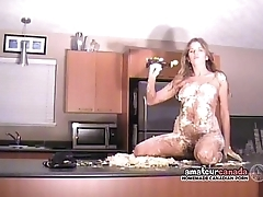 Messy crushed thicken whipped cream naked striptease by bikini amateur