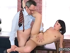 Carnal bookworm was teased and rode by her older teacher