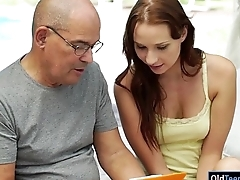 Czech Chelsea Sun sucking off with the addition of is riding on grandpas cock