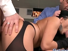 Babe enjoys threesome and gets facialized
