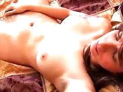 Pretty Bunette Fingers Her Furry Wet Off with To Orgasm