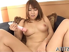 Gripping asian shower masturbation